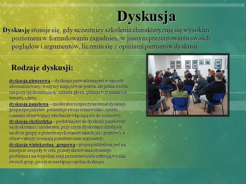 Dyskusja Dyskusję stosuje się, gdy uczestnicy szkolenia charakteryzują się wysokim poziomem w formułowaniu zagadnień, w jasnym prezentowaniu swoich po