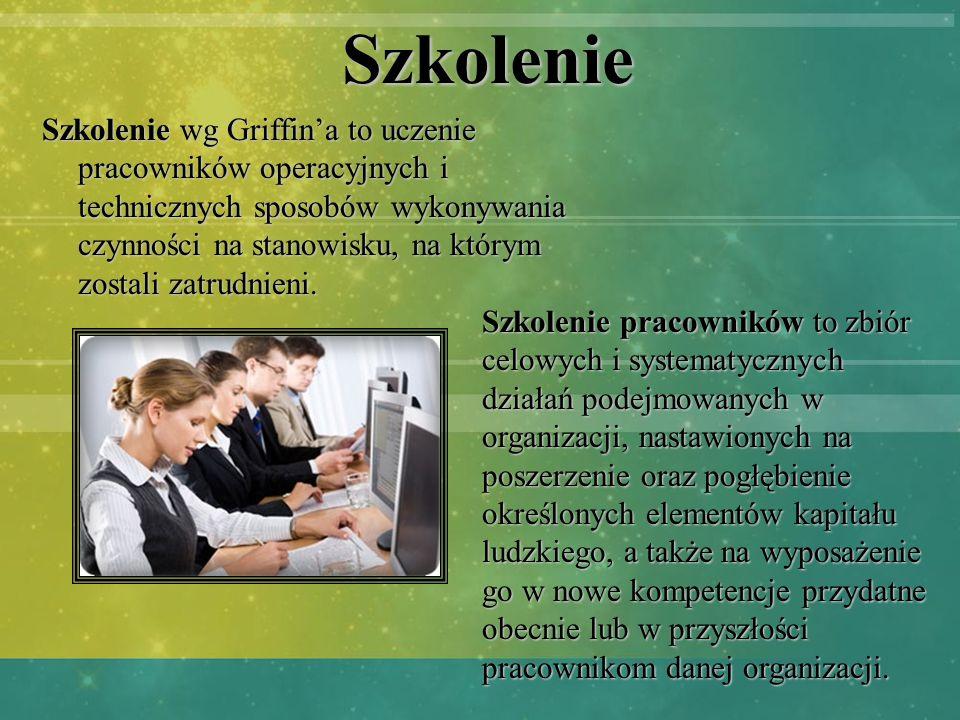 Szkolenie Szkolenie wg Griffina to uczenie pracowników operacyjnych i technicznych sposobów wykonywania czynności na stanowisku, na którym zostali zat