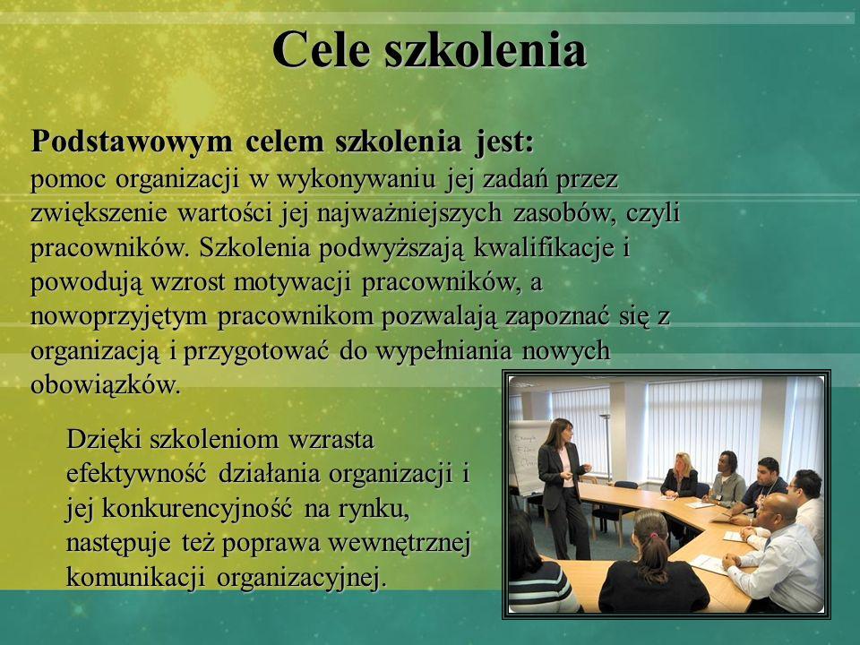 Cele szkolenia Podstawowym celem szkolenia jest: pomoc organizacji w wykonywaniu jej zadań przez zwiększenie wartości jej najważniejszych zasobów, czy