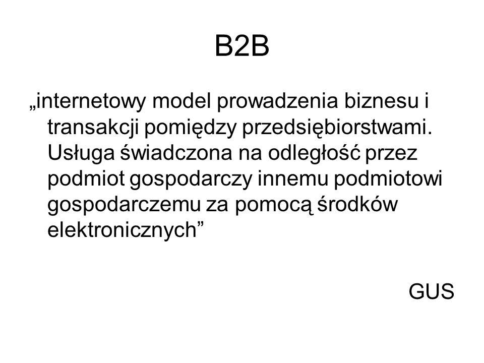 B2B internetowy model prowadzenia biznesu i transakcji pomiędzy przedsiębiorstwami. Usługa świadczona na odległość przez podmiot gospodarczy innemu po