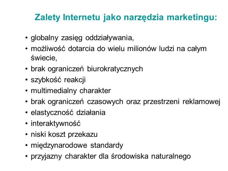 Zalety Internetu jako narzędzia marketingu: globalny zasięg oddziaływania, możliwość dotarcia do wielu milionów ludzi na całym świecie, brak ogranicze