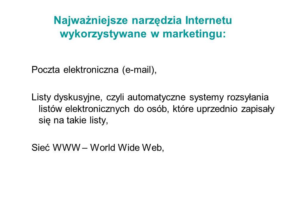 Najważniejsze narzędzia Internetu wykorzystywane w marketingu: Poczta elektroniczna (e-mail), Listy dyskusyjne, czyli automatyczne systemy rozsyłania