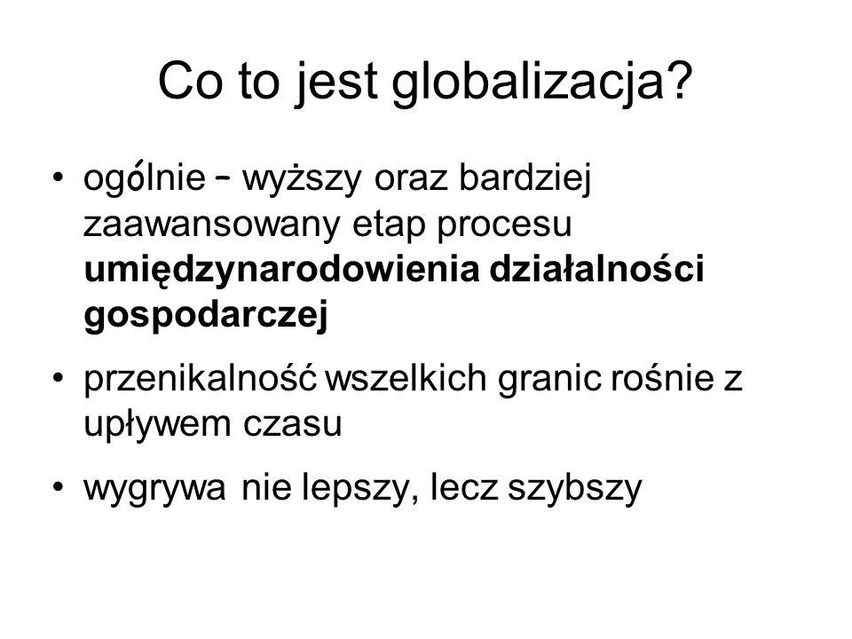 Co to jest globalizacja? og ó lnie – wyższy oraz bardziej zaawansowany etap procesu umiędzynarodowienia działalności gospodarczej przenikalność wszelk
