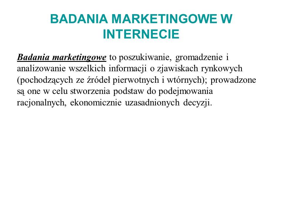 BADANIA MARKETINGOWE W INTERNECIE Badania marketingowe to poszukiwanie, gromadzenie i analizowanie wszelkich informacji o zjawiskach rynkowych (pochod