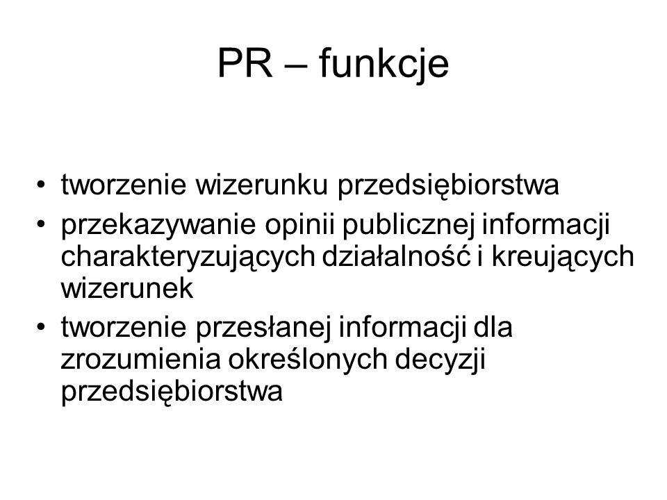 PR – funkcje tworzenie wizerunku przedsiębiorstwa przekazywanie opinii publicznej informacji charakteryzujących działalność i kreujących wizerunek two