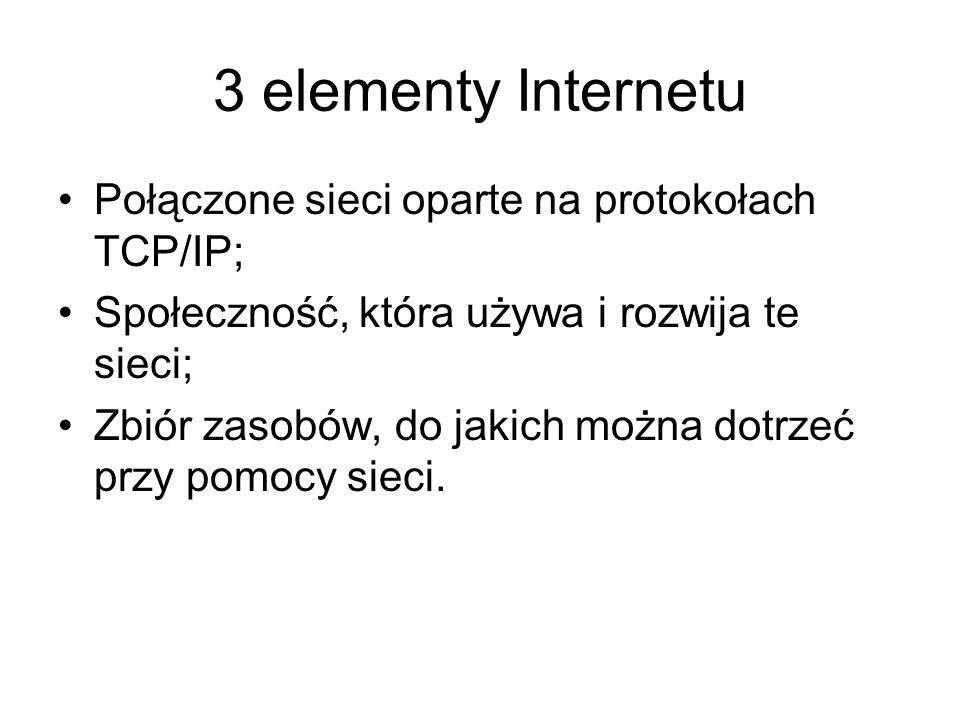 3 elementy Internetu Połączone sieci oparte na protokołach TCP/IP; Społeczność, która używa i rozwija te sieci; Zbiór zasobów, do jakich można dotrzeć