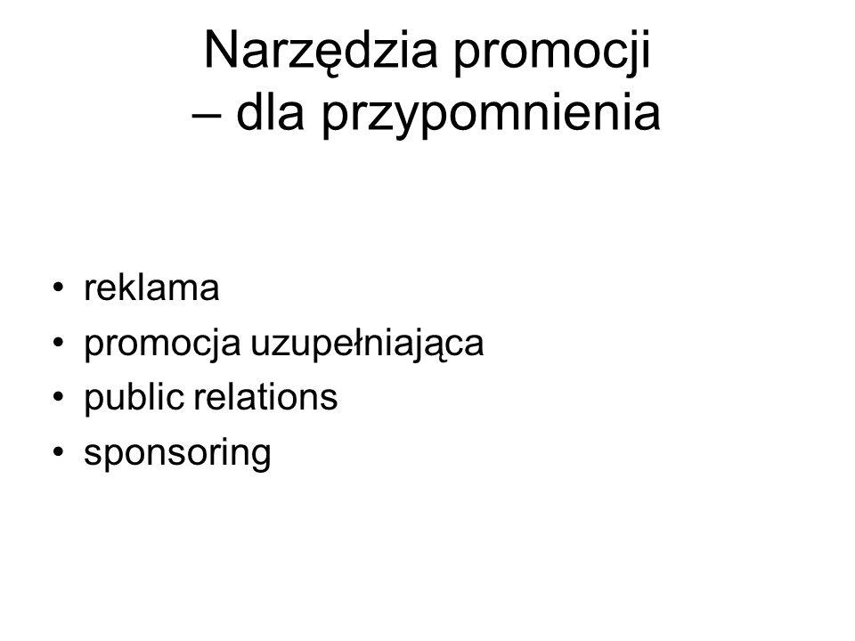 Narzędzia promocji – dla przypomnienia reklama promocja uzupełniająca public relations sponsoring