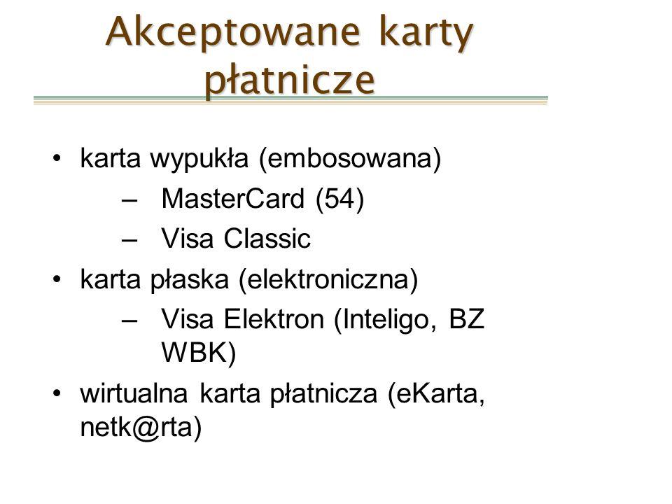 karta wypukła (embosowana) –MasterCard (54) –Visa Classic karta płaska (elektroniczna) –Visa Elektron (Inteligo, BZ WBK) wirtualna karta płatnicza (eK
