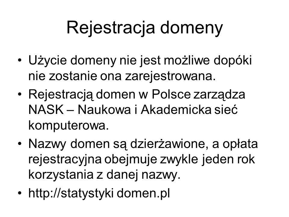 Rejestracja domeny Użycie domeny nie jest możliwe dopóki nie zostanie ona zarejestrowana. Rejestracją domen w Polsce zarządza NASK – Naukowa i Akademi
