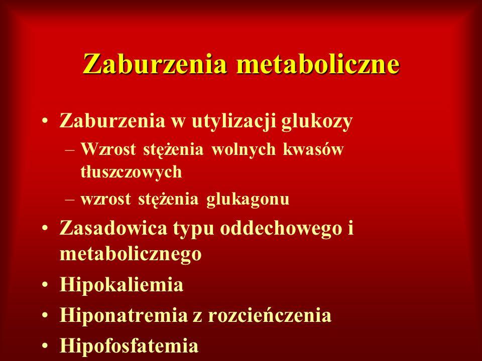 Zaburzenia metaboliczne Zaburzenia w utylizacji glukozy –Wzrost stężenia wolnych kwasów tłuszczowych –wzrost stężenia glukagonu Zasadowica typu oddech