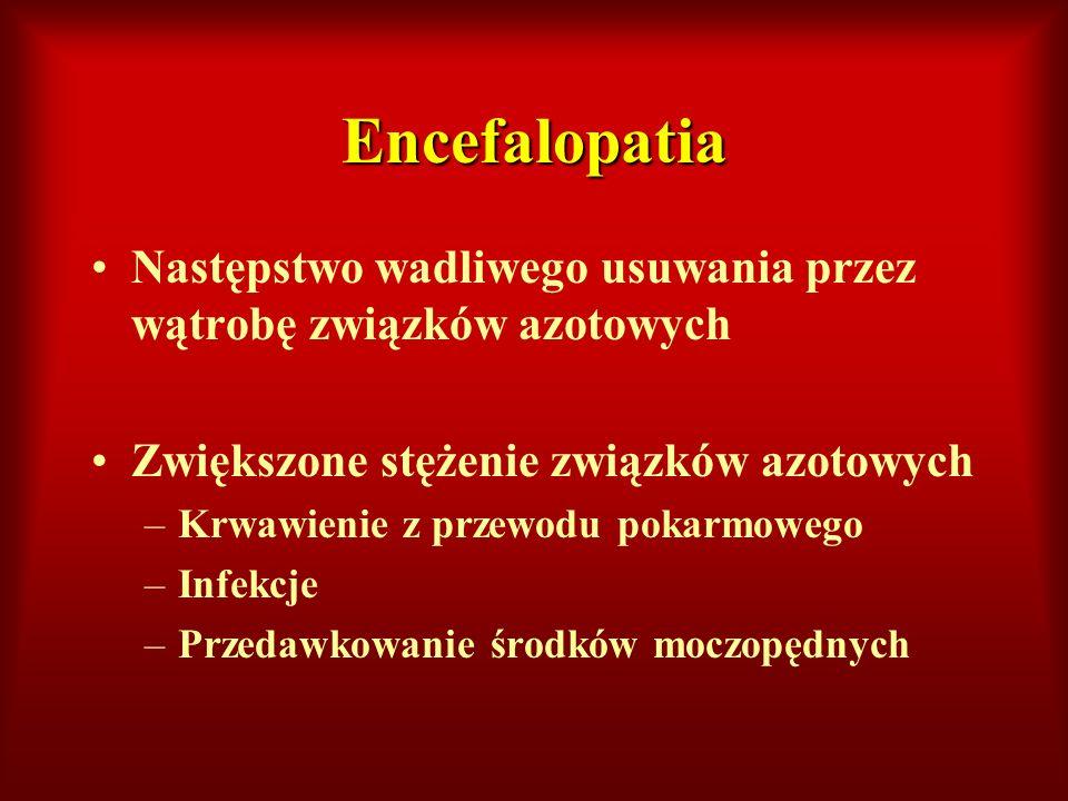 Encefalopatia Następstwo wadliwego usuwania przez wątrobę związków azotowych Zwiększone stężenie związków azotowych –Krwawienie z przewodu pokarmowego
