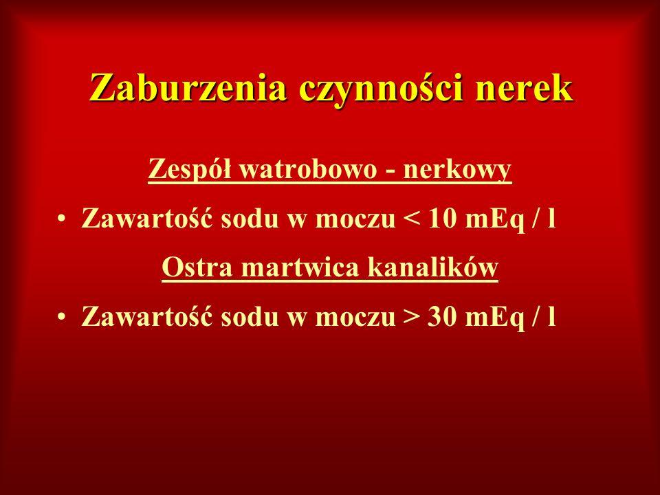 Zaburzenia czynności nerek Zespół watrobowo - nerkowy Zawartość sodu w moczu < 10 mEq / l Ostra martwica kanalików Zawartość sodu w moczu > 30 mEq / l