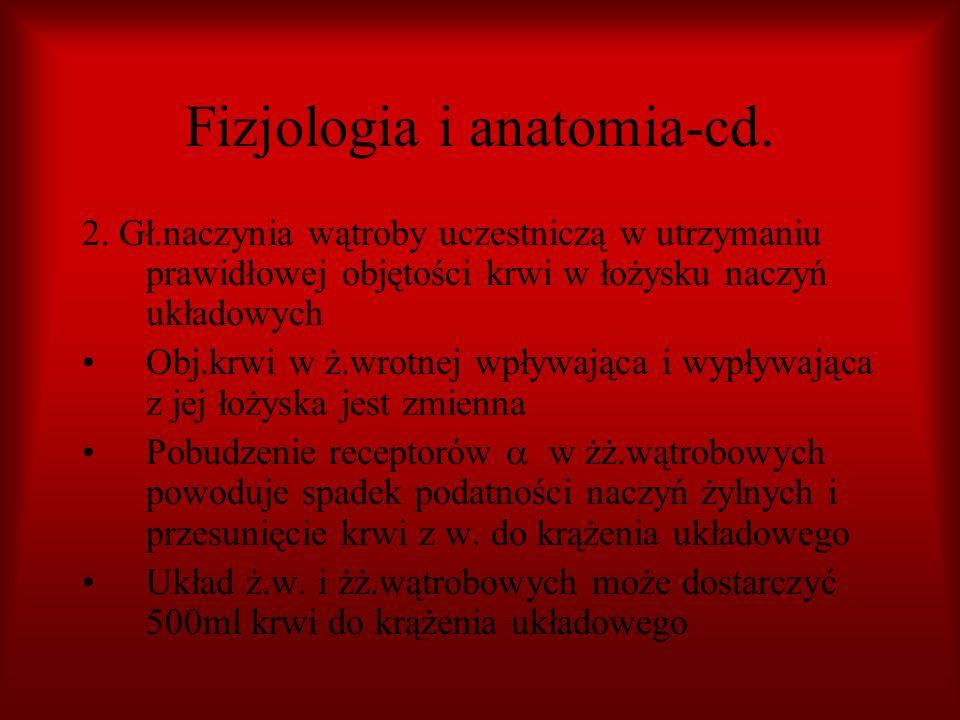 Fizjologia i anatomia-cd. 2. Gł.naczynia wątroby uczestniczą w utrzymaniu prawidłowej objętości krwi w łożysku naczyń układowych Obj.krwi w ż.wrotnej