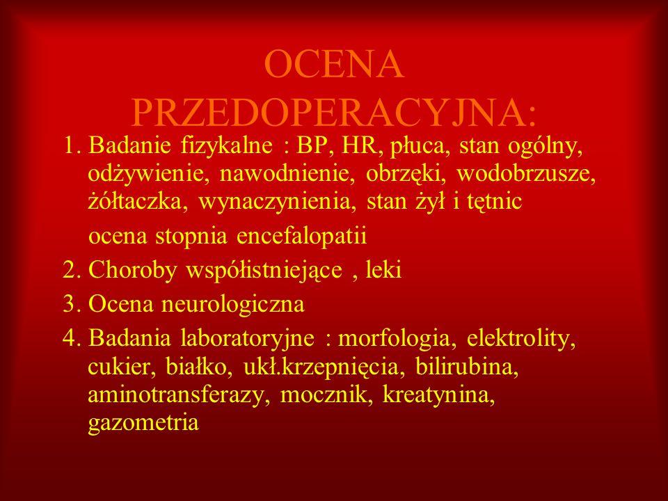 OCENA PRZEDOPERACYJNA: 1. Badanie fizykalne : BP, HR, płuca, stan ogólny, odżywienie, nawodnienie, obrzęki, wodobrzusze, żółtaczka, wynaczynienia, sta