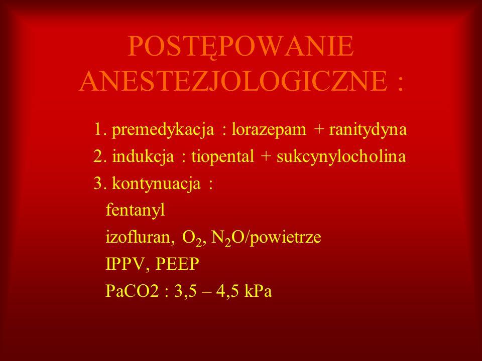 POSTĘPOWANIE ANESTEZJOLOGICZNE : 1. premedykacja : lorazepam + ranitydyna 2. indukcja : tiopental + sukcynylocholina 3. kontynuacja : fentanyl izoflur