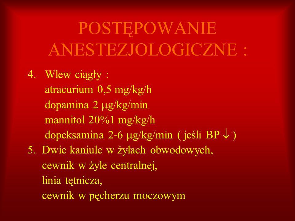 POSTĘPOWANIE ANESTEZJOLOGICZNE : 4. Wlew ciągły : atracurium 0,5 mg/kg/h dopamina 2 g/kg/min mannitol 20%1 mg/kg/h dopeksamina 2-6 g/kg/min ( jeśli BP