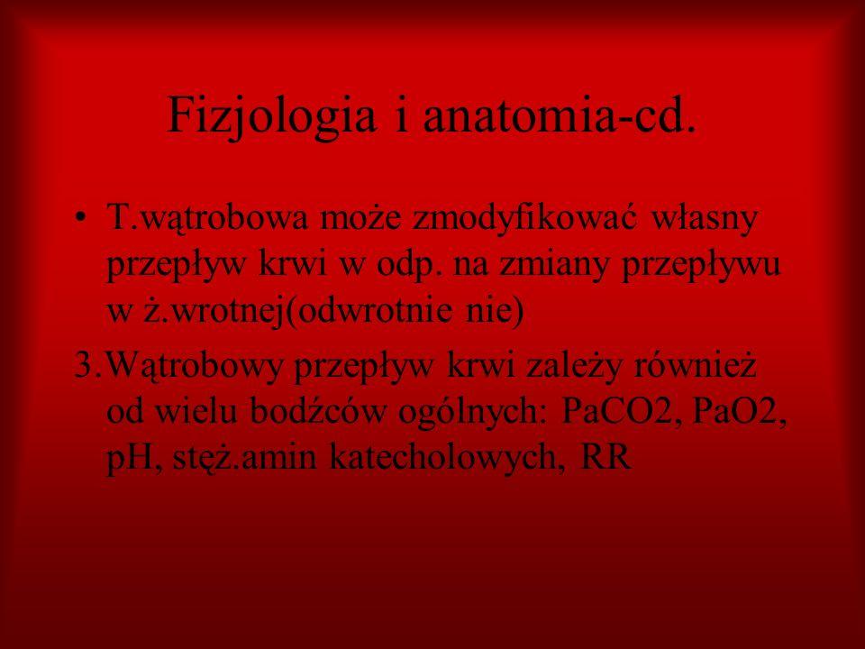 Fizjologia i anatomia-cd. T.wątrobowa może zmodyfikować własny przepływ krwi w odp. na zmiany przepływu w ż.wrotnej(odwrotnie nie) 3.Wątrobowy przepły