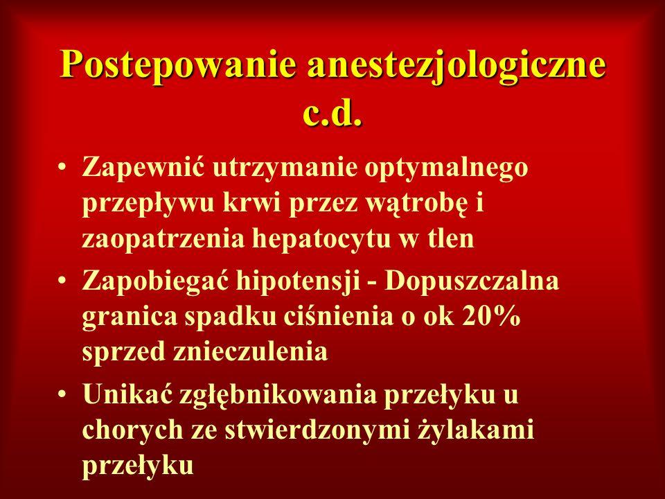 Postepowanie anestezjologiczne c.d. Zapewnić utrzymanie optymalnego przepływu krwi przez wątrobę i zaopatrzenia hepatocytu w tlen Zapobiegać hipotensj