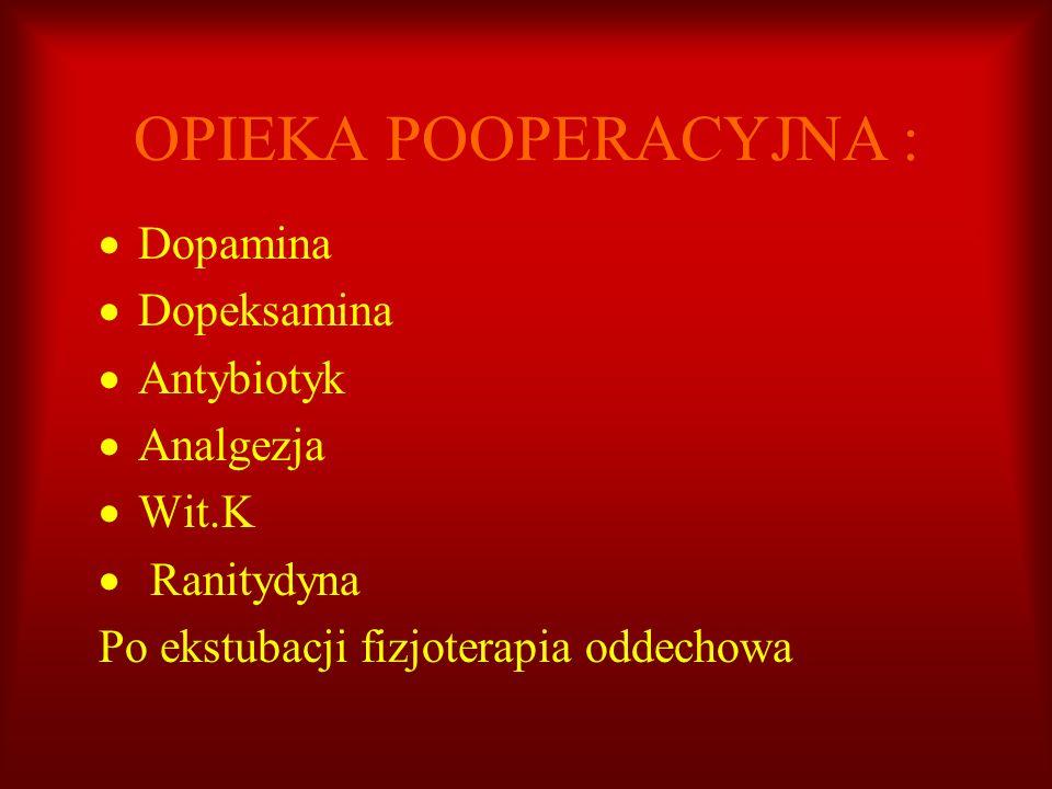 OPIEKA POOPERACYJNA : Dopamina Dopeksamina Antybiotyk Analgezja Wit.K Ranitydyna Po ekstubacji fizjoterapia oddechowa