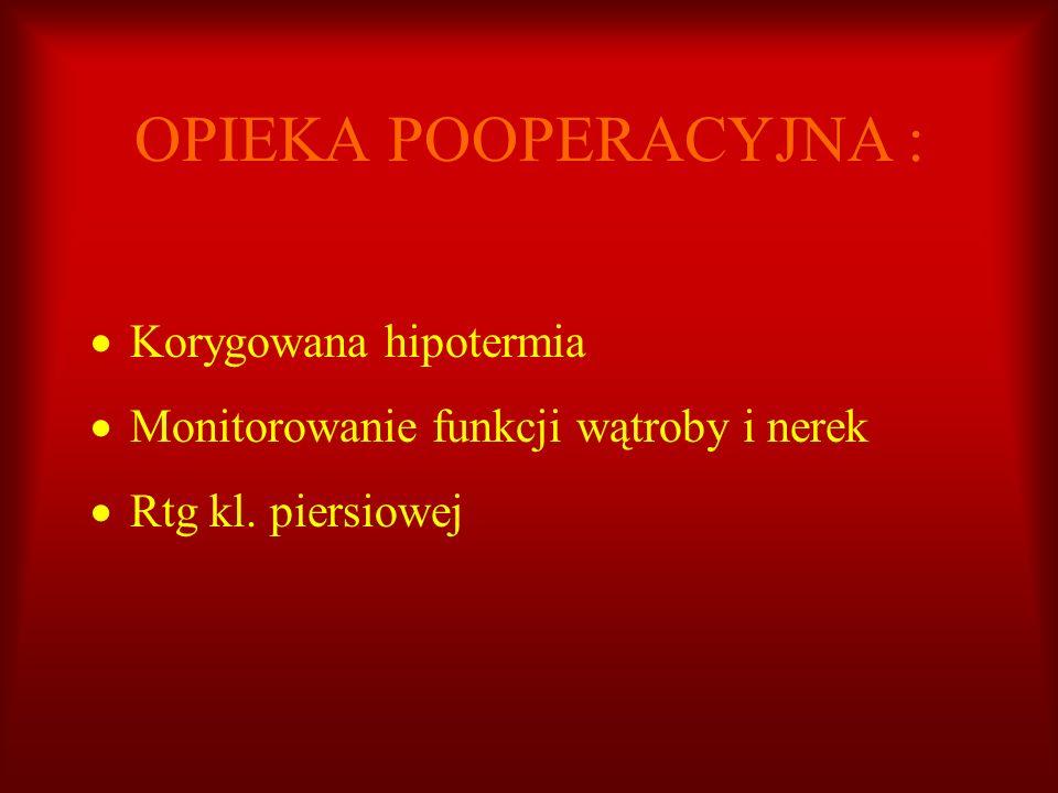 OPIEKA POOPERACYJNA : Korygowana hipotermia Monitorowanie funkcji wątroby i nerek Rtg kl. piersiowej