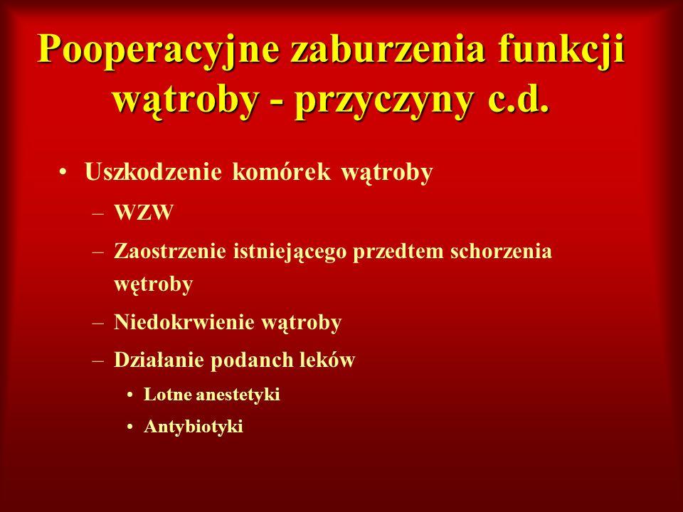 Pooperacyjne zaburzenia funkcji wątroby - przyczyny c.d. Uszkodzenie komórek wątroby –WZW –Zaostrzenie istniejącego przedtem schorzenia wętroby –Niedo