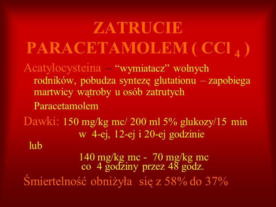 ZATRUCIE PARACETAMOLEM ( CCl 4 ) Acatylocysteina – wymiatacz wolnych rodników, pobudza syntezę glutationu – zapobiega martwicy wątroby u osób zatrutyc