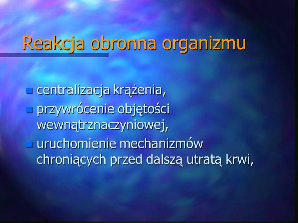 Reakcja obronna organizmu n centralizacja krążenia, n przywrócenie objętości wewnątrznaczyniowej, n uruchomienie mechanizmów chroniących przed dalszą