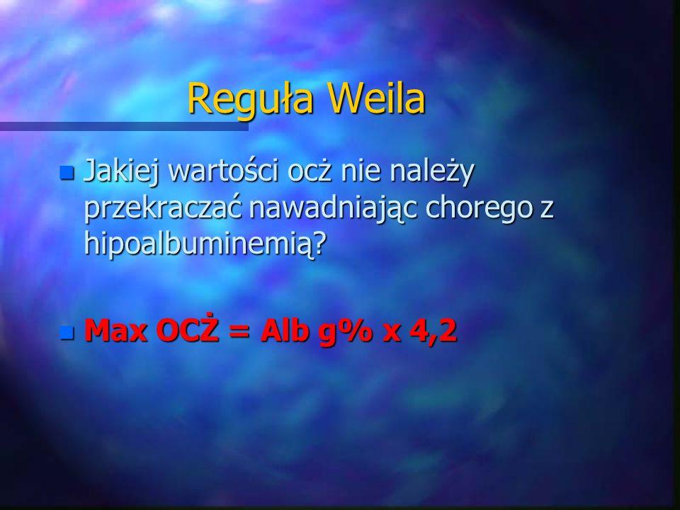 Reguła Weila n Jakiej wartości ocż nie należy przekraczać nawadniając chorego z hipoalbuminemią? n Max OCŻ = Alb g% x 4,2