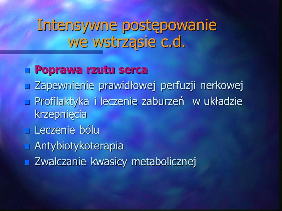 Intensywne postępowanie we wstrząsie c.d. n Poprawa rzutu serca n Zapewnienie prawidłowej perfuzji nerkowej n Profilaktyka i leczenie zaburzeń w układ