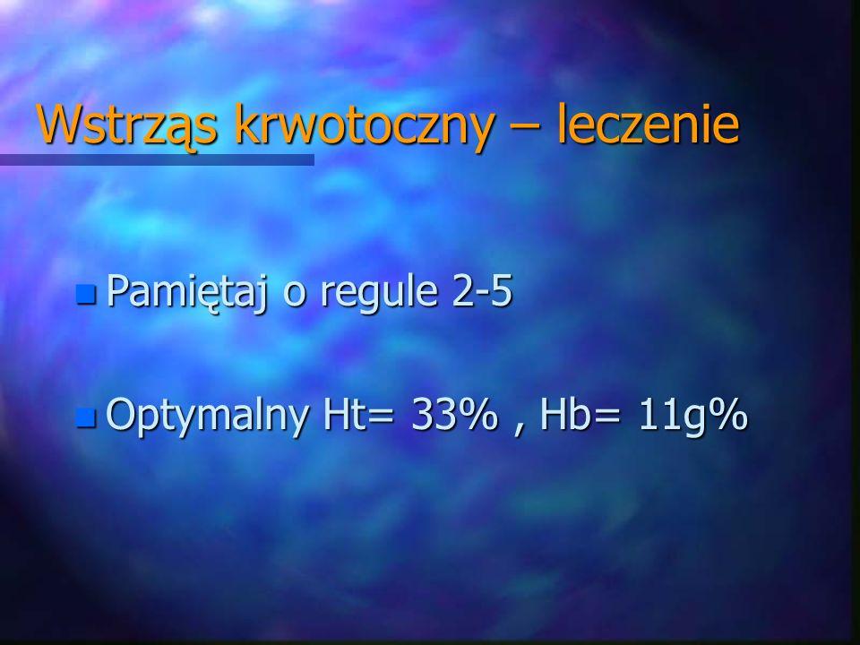 n Pamiętaj o regule 2-5 n Optymalny Ht= 33%, Hb= 11g% Wstrząs krwotoczny – leczenie