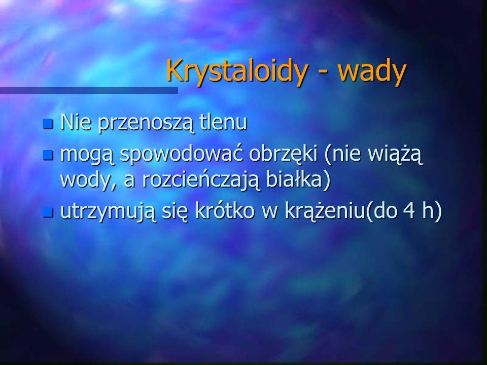 Krystaloidy - wady Krystaloidy - wady n Nie przenoszą tlenu n mogą spowodować obrzęki (nie wiążą wody, a rozcieńczają białka) n utrzymują się krótko w