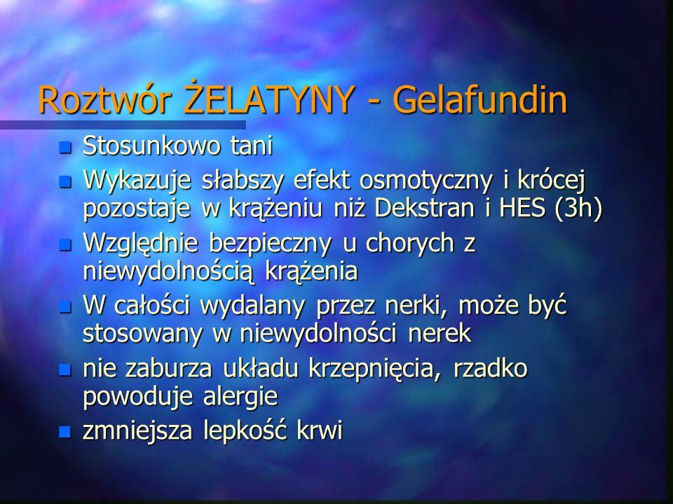 Roztwór ŻELATYNY - Gelafundin n Stosunkowo tani n Wykazuje słabszy efekt osmotyczny i krócej pozostaje w krążeniu niż Dekstran i HES (3h) n Względnie