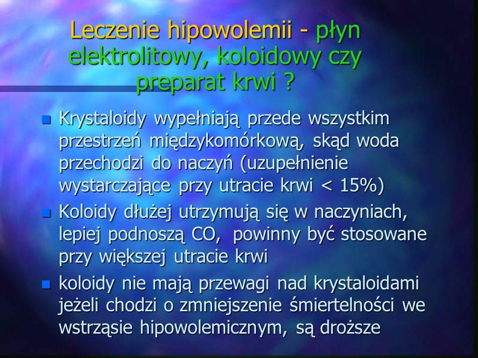 n Krystaloidy wypełniają przede wszystkim przestrzeń międzykomórkową, skąd woda przechodzi do naczyń (uzupełnienie wystarczające przy utracie krwi < 1