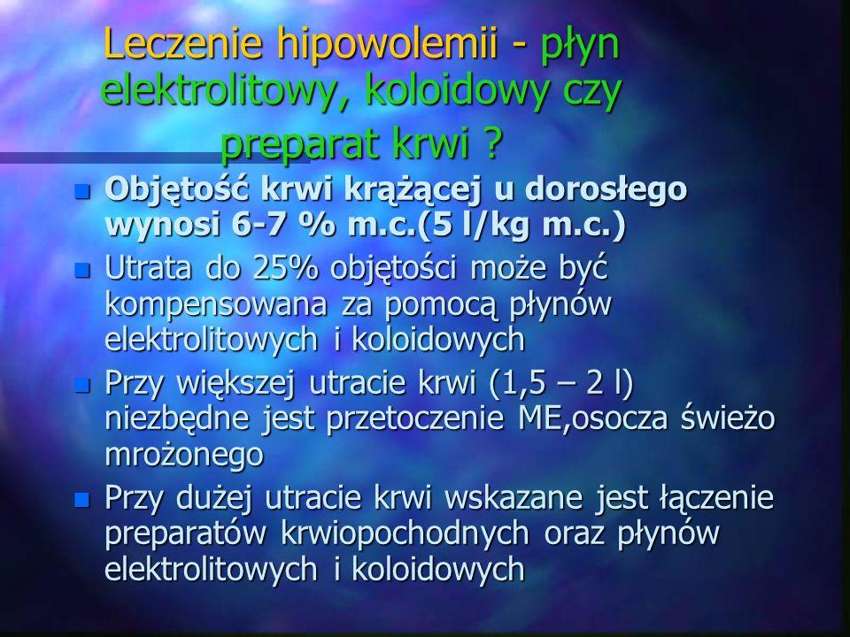 n Objętość krwi krążącej u dorosłego wynosi 6-7 % m.c.(5 l/kg m.c.) n Utrata do 25% objętości może być kompensowana za pomocą płynów elektrolitowych i