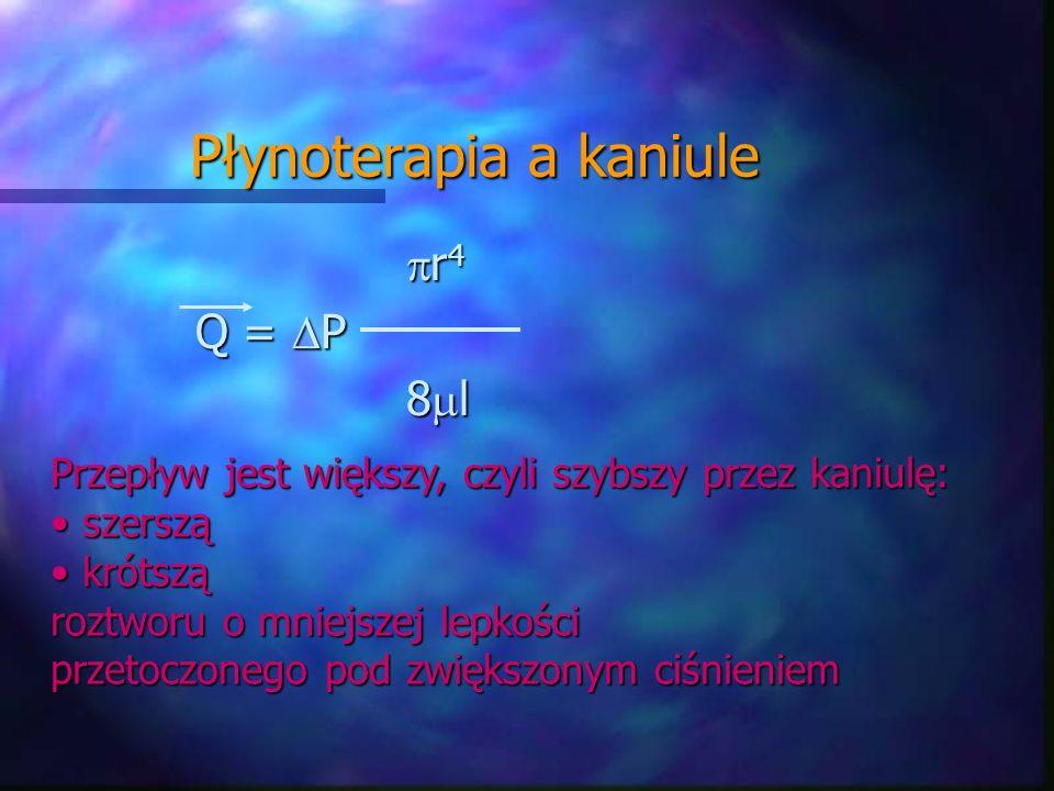 Płynoterapia a kaniule r 4 r 4 Q = P 8 l Przepływ jest większy, czyli szybszy przez kaniulę: szerszą szerszą krótszą krótszą roztworu o mniejszej lepk