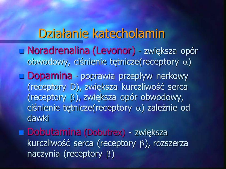 Działanie katecholamin n Noradrenalina (Levonor) - zwiększa opór obwodowy, ciśnienie tętnicze(receptory ) n Dopamina - poprawia przepływ nerkowy (rece