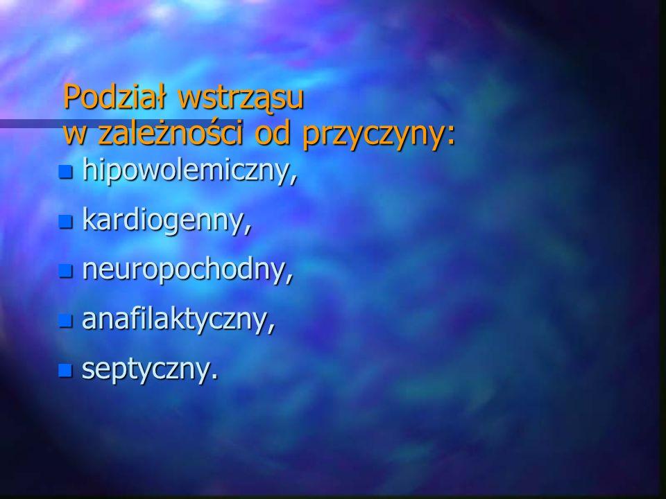 Podział wstrząsu w zależności od przyczyny: n hipowolemiczny, n kardiogenny, n neuropochodny, n anafilaktyczny, n septyczny.