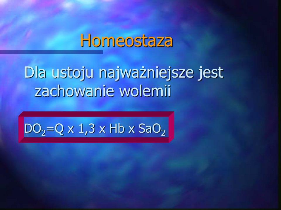 Homeostaza Dla ustoju najważniejsze jest zachowanie wolemii DO 2 =Q x 1,3 x Hb x SaO 2