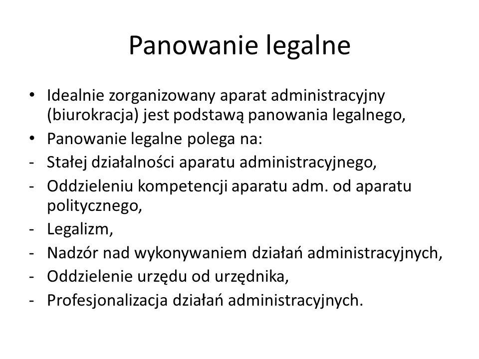 Panowanie legalne Idealnie zorganizowany aparat administracyjny (biurokracja) jest podstawą panowania legalnego, Panowanie legalne polega na: -Stałej