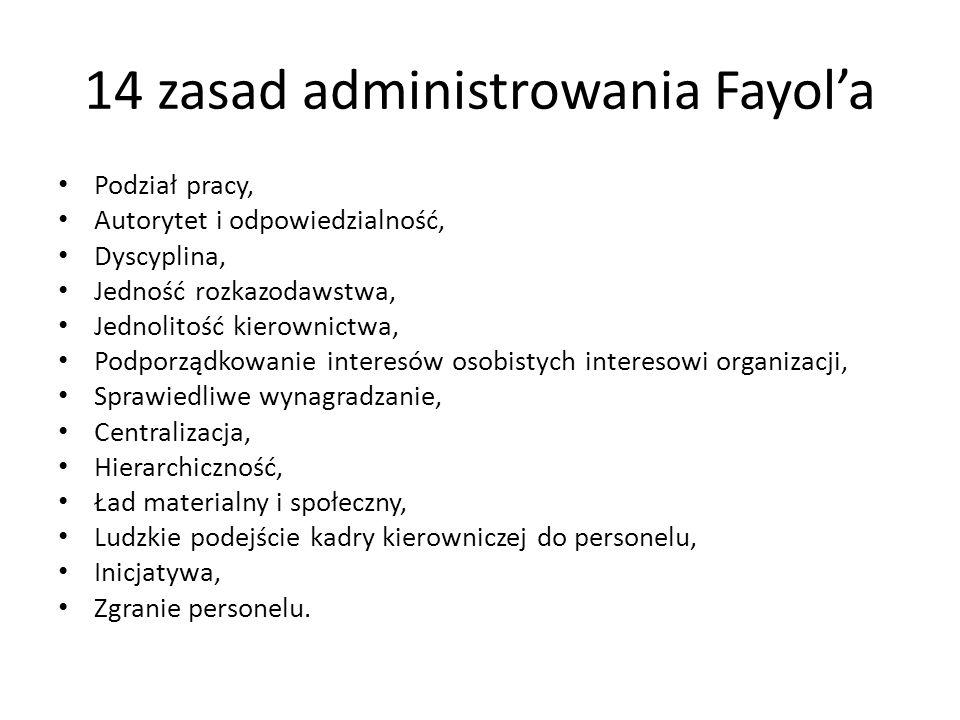 14 zasad administrowania Fayola Podział pracy, Autorytet i odpowiedzialność, Dyscyplina, Jedność rozkazodawstwa, Jednolitość kierownictwa, Podporządko
