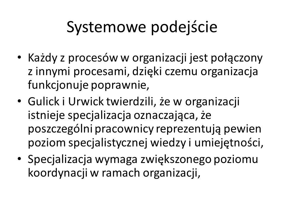 Systemowe podejście Każdy z procesów w organizacji jest połączony z innymi procesami, dzięki czemu organizacja funkcjonuje poprawnie, Gulick i Urwick