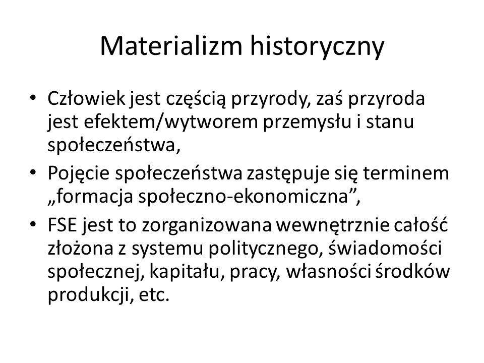 Materializm historyczny Człowiek jest częścią przyrody, zaś przyroda jest efektem/wytworem przemysłu i stanu społeczeństwa, Pojęcie społeczeństwa zast