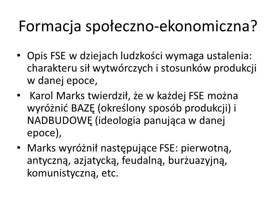 Formacja społeczno-ekonomiczna? Opis FSE w dziejach ludzkości wymaga ustalenia: charakteru sił wytwórczych i stosunków produkcji w danej epoce, Karol