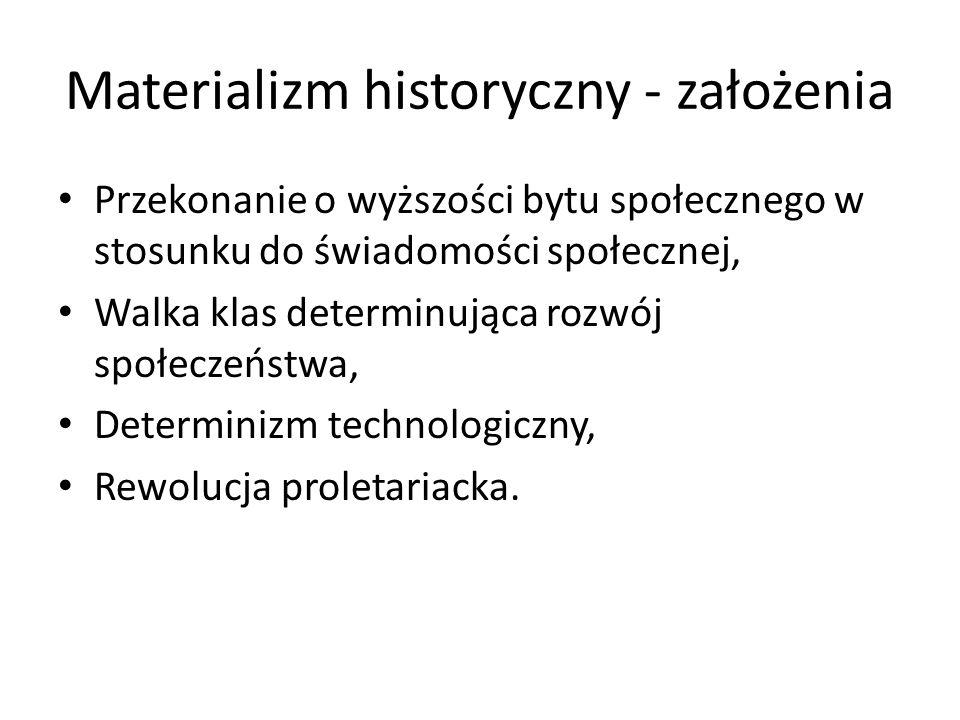 Materializm historyczny - założenia Przekonanie o wyższości bytu społecznego w stosunku do świadomości społecznej, Walka klas determinująca rozwój spo