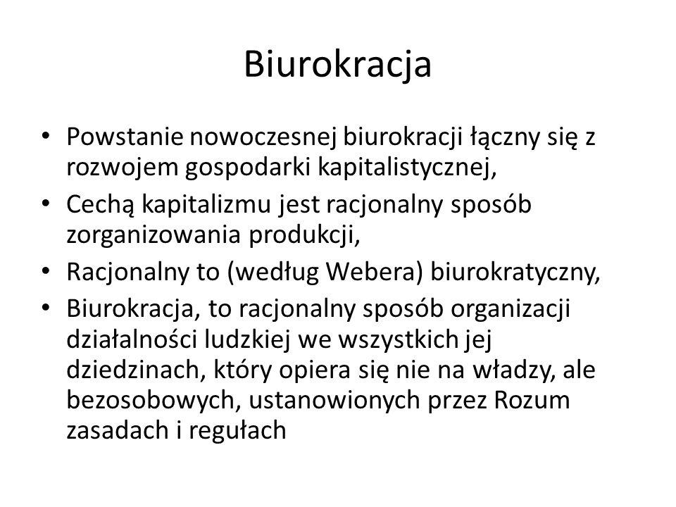 Biurokracja Powstanie nowoczesnej biurokracji łączny się z rozwojem gospodarki kapitalistycznej, Cechą kapitalizmu jest racjonalny sposób zorganizowan