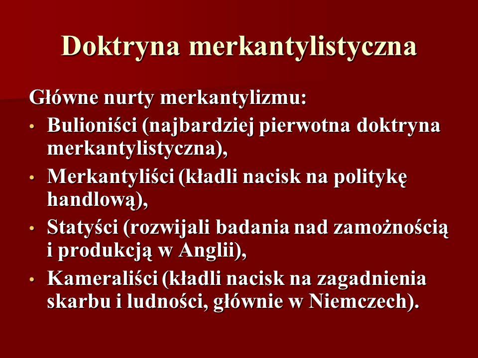 Doktryna merkantylistyczna Główne nurty merkantylizmu: Bulioniści (najbardziej pierwotna doktryna merkantylistyczna), Bulioniści (najbardziej pierwotn