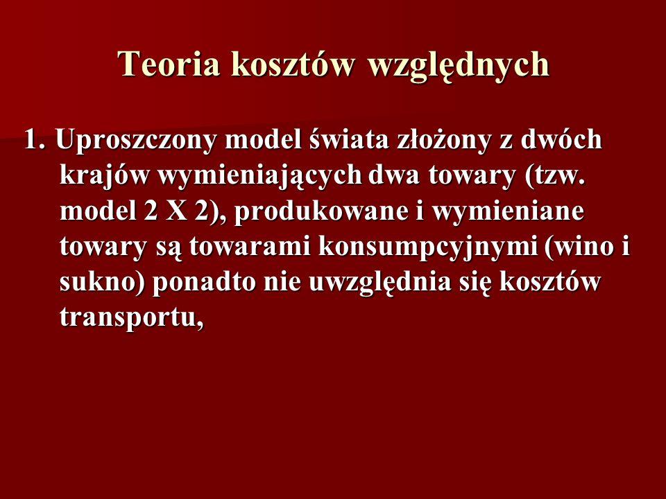 Teoria kosztów względnych 1. Uproszczony model świata złożony z dwóch krajów wymieniających dwa towary (tzw. model 2 X 2), produkowane i wymieniane to