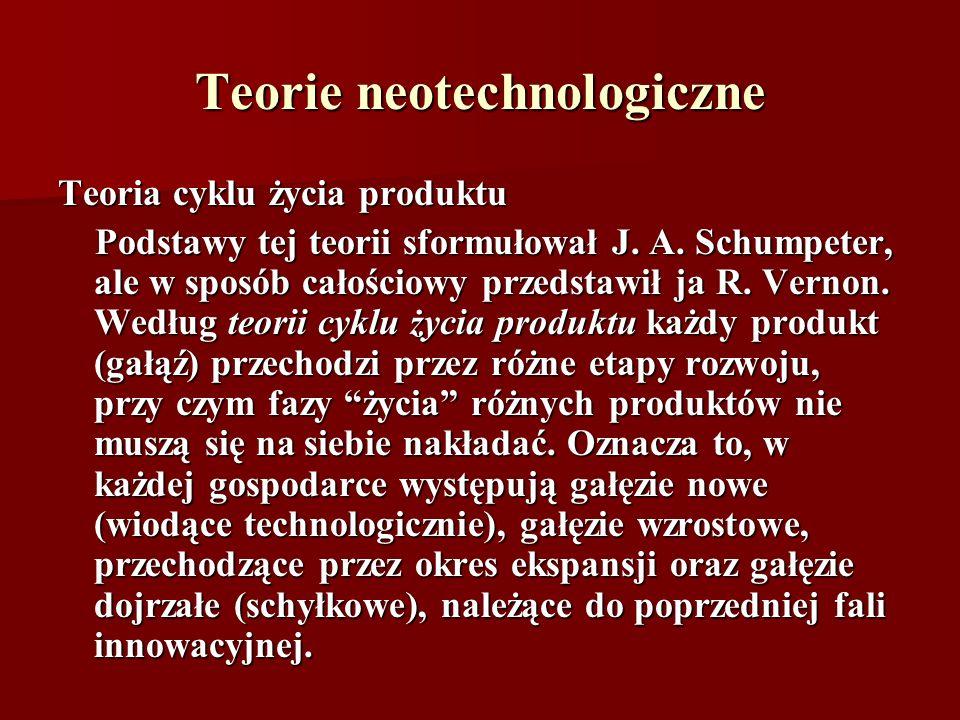 Teorie neotechnologiczne Teoria cyklu życia produktu Podstawy tej teorii sformułował J. A. Schumpeter, ale w sposób całościowy przedstawił ja R. Verno