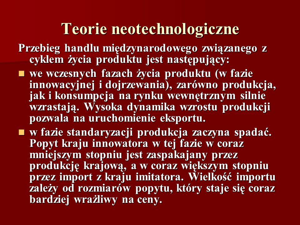 Teorie neotechnologiczne Przebieg handlu międzynarodowego związanego z cyklem życia produktu jest następujący: we wczesnych fazach życia produktu (w f