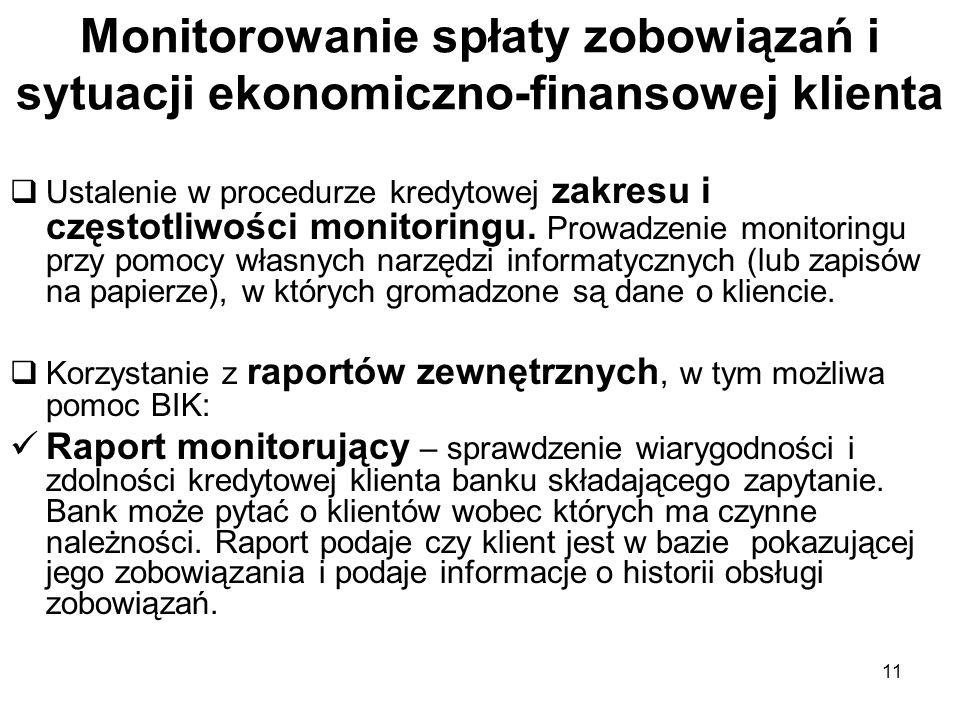 11 Monitorowanie spłaty zobowiązań i sytuacji ekonomiczno-finansowej klienta Ustalenie w procedurze kredytowej zakresu i częstotliwości monitoringu. P